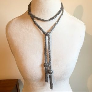 Jewelry - Beaded tie necklace with tassels